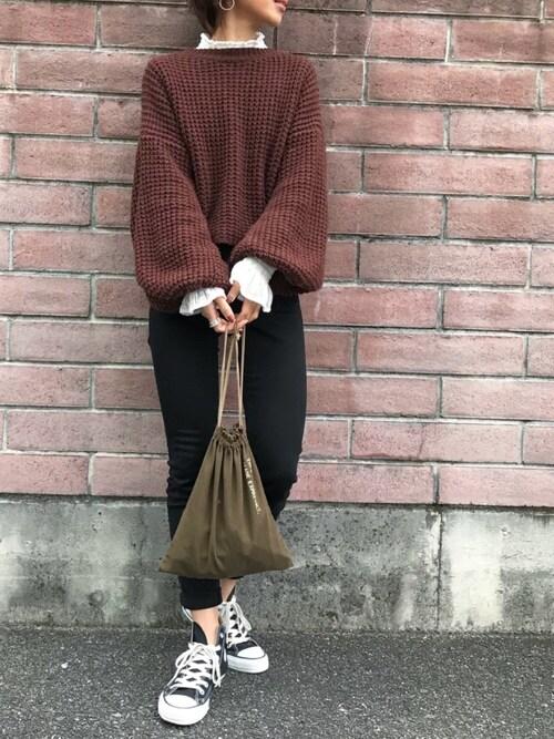 Kumika☆さんの「ボリュームスリーブニット(TODAYFUL)」を使ったコーディネート
