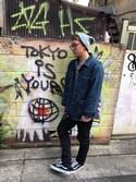 Itsumi Usuiさんの「VANS ヴァンズ VN-0D3HY28 OLD SKOOL BLACK(VANS|バンズ)」を使ったコーディネート
