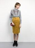 karinさんの「【再入荷】【GISELe4月号掲載】フラワー刺繍入りスタンドフリルカラーフロント&バッグフリルストライプブラウス(select MOCA|セレクトモカ)」を使ったコーディネート