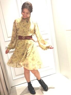Supreme.La.La. 渋谷マルイ店|Harei Arakawaさんの「ベンガルフラワーシフォンワンピース(Supreme.La.La)」を使ったコーディネート