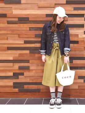 coen広島府中店|coen  あんどうさんの「ストレッチフライスボートネックカットソー(coen)」を使ったコーディネート