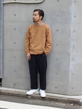 JOURNAL STANDARD 横浜店|田口 馨さんのTシャツ/カットソー「スウェットキモウ C/N #(JOURNAL STANDARD|ジャーナルスタンダード)」を使ったコーディネート