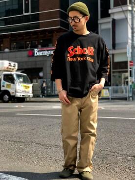 Schott South|TomoyaさんのTシャツ/カットソー「Schott/ショット/QUATER SLEEVE 70's SCHOTT LOGO/クォーター スリーブ ショット ロゴ(schott|ショット)」を使ったコーディネート