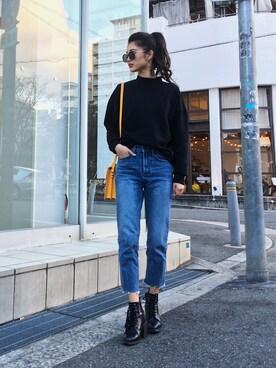 ANAP|影山可蓮さんのTシャツ/カットソー「ハイネックスウェットプルオーバー(LATINA|ラティーナ)」を使ったコーディネート