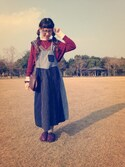 ぱげ☆**さんの「TORI-TO / コーデュロイ&ダンガリー ジャンパースカート(BEAMS BOY ビームスボーイ)」を使ったコーディネート