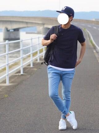 「【汗ジミ防止加工】ポケット付きTシャツ/713838(RAGEBLUE)」 using this しんご looks