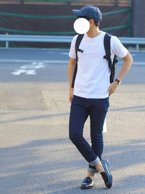 しんごさんの「【WEB限定】[ヘインズ] BC★★ Hanes BEEFY-T GLR Tシャツ(HANES)」を使ったコーディネート