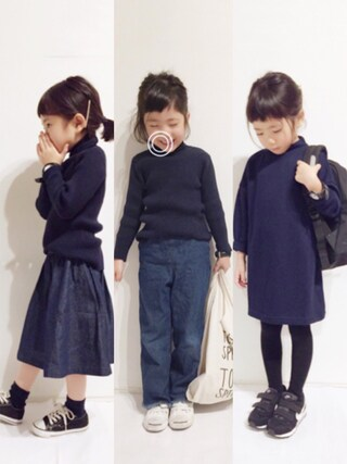 yuuunaさんの「ベーシック無地タートルネックニットプルオーバー(petit main プティマイン)」を使ったコーディネート