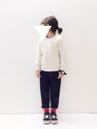 yuuunaさんの「ケーブル編みニットプルオーバー(petit main プティマイン)」を使ったコーディネート