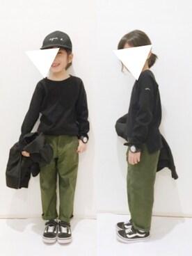 yuuunaさんのTシャツ/カットソー「ラグランスリーブ9分袖ベーシックTシャツ (b・ROOM|ビールーム)」を使ったコーディネート