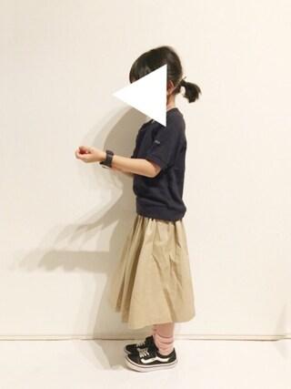 yuuunaさんの「ワンポイント付き半袖トレーナー(b・ROOM ビールーム)」を使ったコーディネート