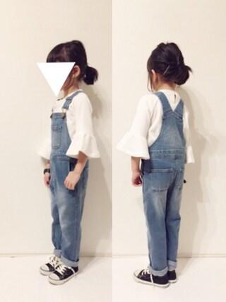 yuuunaさんの「袖フレア長袖Tシャツ(petit main プティマイン)」を使ったコーディネート