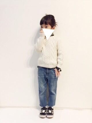 yuuunaさんの「【DANTON KIDS】キッズ 長袖丸襟シャツ TRD(Danton ダントン)」を使ったコーディネート