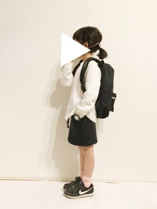 yuuunaさんの「ワッフル素材ボーダー長袖Tシャツ(petit main プティマイン)」を使ったコーディネート