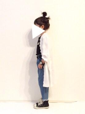 yuuunaさんの「裾フリンジデニムワイドパンツ(petit main|プティマイン)」を使ったコーディネート