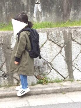yuuunaさんのその他アウター「プリント中綿ライナー付きミリタリーコート(AZUL by moussy アズールバイマウジー)」を使ったコーディネート