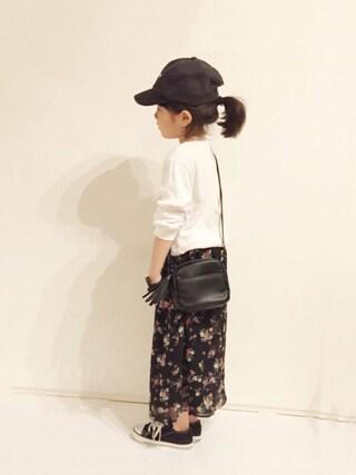 yuuunaさんの「ワッフル素材ボーダー長袖Tシャツ(petit main|プティマイン)」を使ったコーディネート