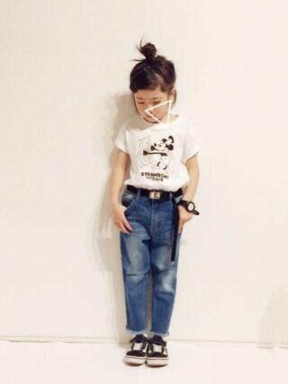 yuuunaさんの「DOORS ミッキー/Tシャツ(KIDS)(URBAN RESEARCH DOORS|アーバンリサーチドアーズ)」を使ったコーディネート