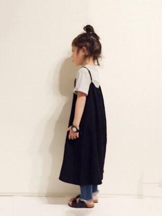 yuuunaさんの「【キッズ】Tシャツキャミセットワンピース/746582(GLOBAL WORK|グローバルワーク)」を使ったコーディネート