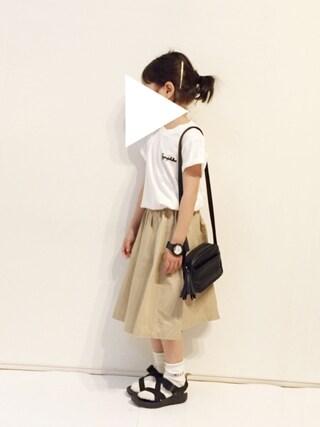 yuuunaさんの「クルーネックTシャツ ロゴ KIDS(GYMPHLEX|ジムフレックス)」を使ったコーディネート
