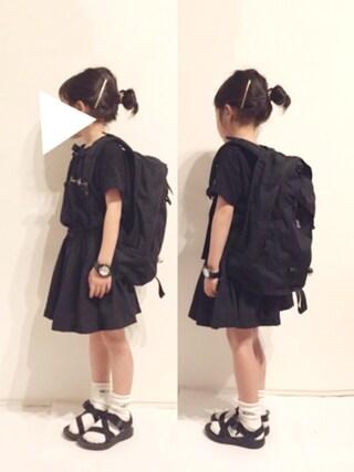 yuuunaさんの「ロゴ刺繍半袖Tシャツ(b・ROOM|ビールーム)」を使ったコーディネート
