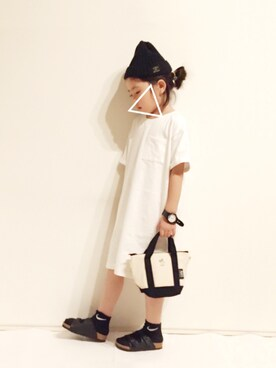 yuuunaさんのニットキャップ/ビーニー「ワンポイントベーシックニット帽(petit main|プティマイン)」を使ったコーディネート