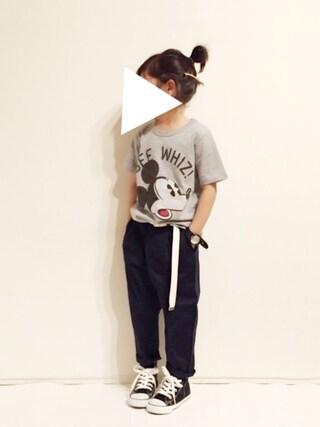 yuuunaさんの「【キッズ】ディズニーフェイスプリントTシャツ半袖/749308(GLOBAL WORK|グローバルワーク)」を使ったコーディネート