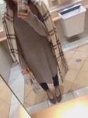 Hanae Tomoriさんの「【大HITアイテム】チェックポンチョ16 732248(Heather ヘザー)」を使ったコーディネート