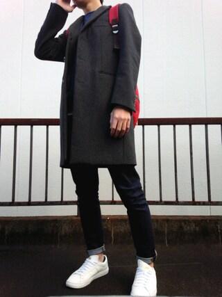 「MEN ストレッチスキニーフィットテーパードジーンズ(ユニクロ)」 using this こーいち looks
