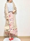 mamoさんの「大人気!ミント再入荷★花柄アシンメトリーロングスカート(4color)(copine|コピン)」を使ったコーディネート