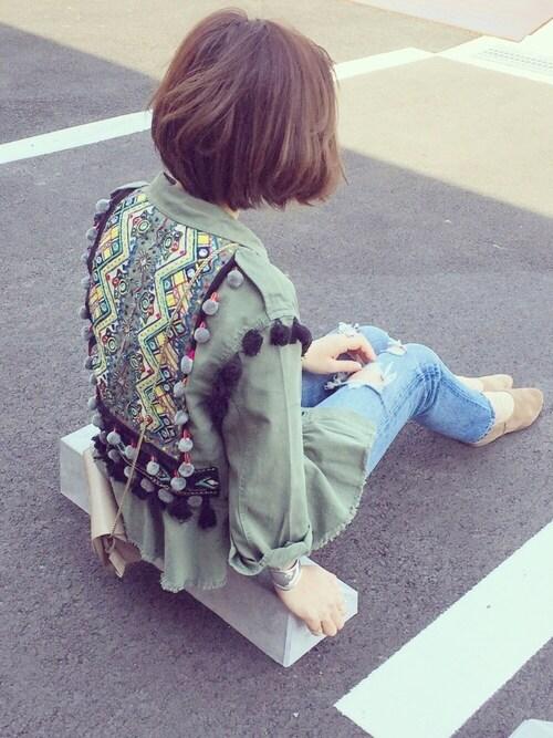 k c o ◡̈♥︎さんの「ポンポン&刺繍パーカー(ZARA)」を使ったコーディネート