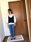 ♡あーりん♡さんの「履きやすくて足にFIT!痛くない歩きやすい機能性,クッション性抜群の1cmヒールラウンドトゥフラットパンプス/LibertyDoll5323(LibertyDoll|リバティードール)」を使ったコーディネート