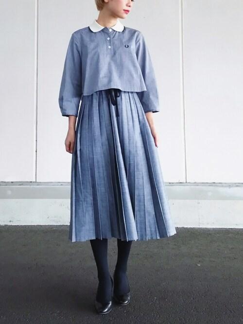 yukiさんの「【予約】FRED PERRY DESIGNED BY MEG / 襟付き プリーツワンピース(CAROLINA GLASER)」を使ったコーディネート