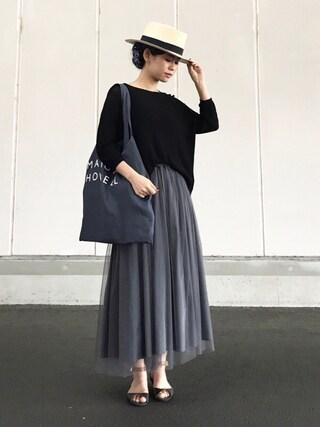 YUKIさんの「LINEN LOGO BAG(MARGARET HOWELL|マーガレットハウエル)」を使ったコーディネート