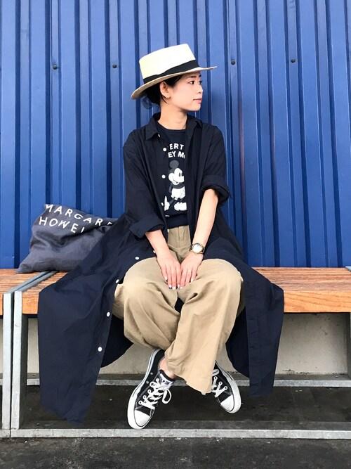 yukiさんの「BY タイプライターロングシャツワンピース(BEAUTY&YOUTH UNITED ARROWS)」を使ったコーディネート