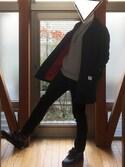 YUICHIOさんの「MEN ソフトタッチタートルネックT(長袖)(ユニクロ|ユニクロ)」を使ったコーディネート