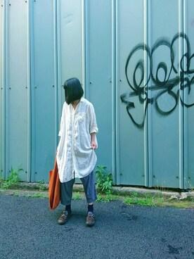 mayukiさんの「コットンリネンストライプイージーパンツ(nest Robe)」を使ったコーディネート