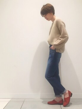 S SALON adam et rope|marikoさんの「【店舗限定】HARUTA for SALON NUBUCK SPOCK SHOES(SALON adam et rope')」を使ったコーディネート