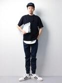 まっこいさんの「ニットTシャツ(ADAM ET ROPE'|アダム エ ロペ)」を使ったコーディネート