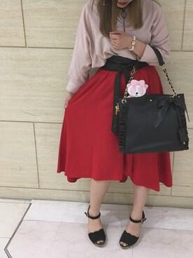 riiiさんの「『MORE6月号掲載商品』『CanCam5月号掲載商品』サッシュベルト付PEツイルイレヘム/スカート-2017SS-(INGNI|イング)」を使ったコーディネート