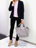 「Longchamp Le Pliage Cuir Tote Bag with Strap, Gray(Longchamp)」 using this かえ looks