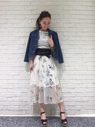 31 Sons de mode♡ ai♡さんの「《andGIRL3月号モデル宮田聡子さん着用アイテム》オリジナル花柄プリントシフォンロングスカート(31 Sons de mode トランテアン ソン ドゥ モード)」を使ったコーディネート