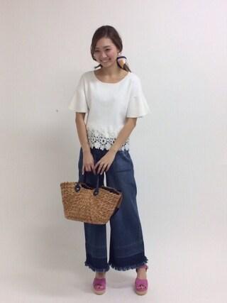 31 Sons de mode♡ ai♡さんの「フレアスリーブ裾レースプルオーバー(31 Sons de mode トランテアン ソン ドゥ モード)」を使ったコーディネート