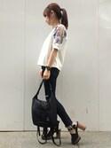 JEANASIS WEB chanさんの「カットワークショルダーSS/757710(JEANASIS|ジーナシス)」を使ったコーディネート