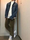 """ならざき is wearing adidas """"オリジナルス スーパースター80s [SUPERSTAR 80s]"""""""