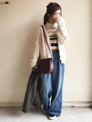 haru ◎さんの「ケーブル編み・ショート丈ニットカーディガン(NEY|ニー)」を使ったコーディネート