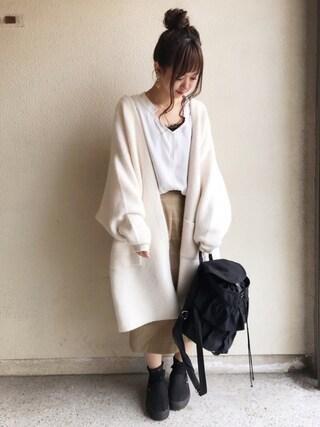 haru ◎さんの「ワイドカフススキッパーシャツ(GRL|グレイル)」を使ったコーディネート