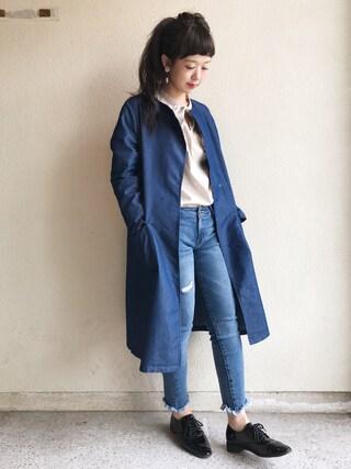 haru ◎さんの「ウエストリボン付デニムノーカラーコート(GRL|グレイル)」を使ったコーディネート