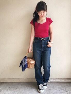 haru ◎さんの「ハートネック半袖Tシャツ(ROYAL PARTY|ロイヤルパーティー)」を使ったコーディネート