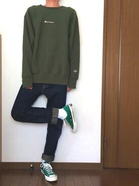 tatsuさんの「【WEB限定】Champion × BEAMS / 別注 ルーズフィット スウェットシャツ(BEAMS ビームス)」を使ったコーディネート
